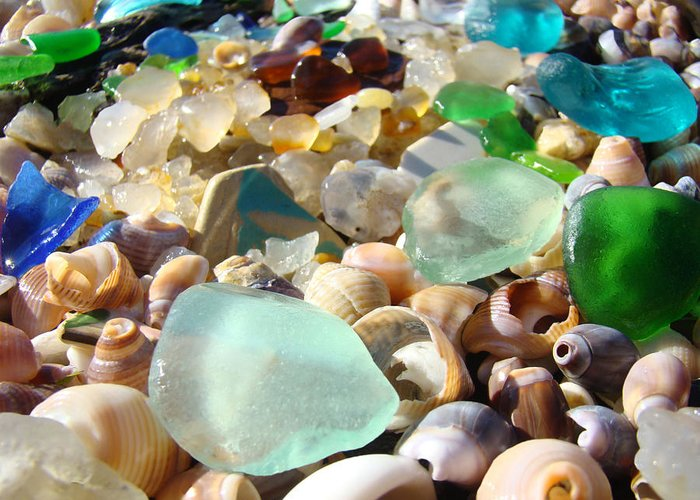 Seaglass Greeting Card featuring the photograph Blue Seaglass Beach Art Prints Shells Agates by Baslee Troutman