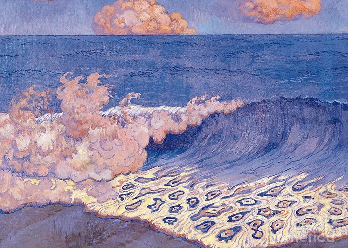 Breakers Greeting Card featuring the painting Blue Seascape Wave Effect by Georges Lacombe