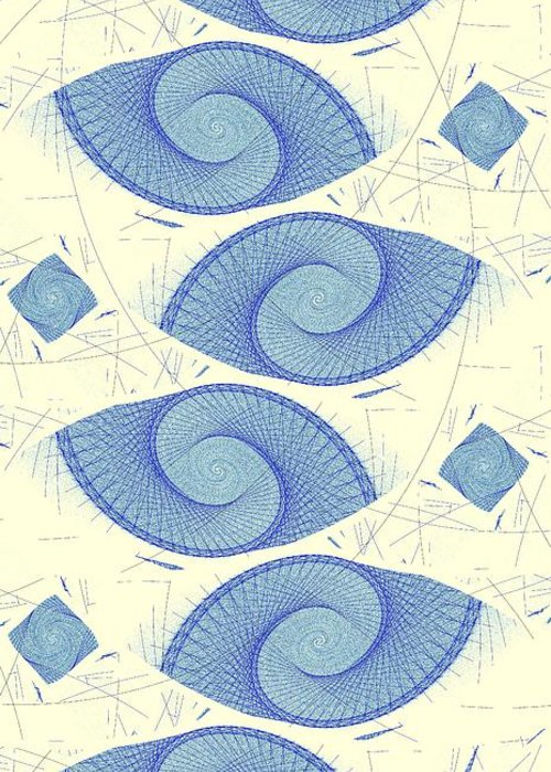 Malakhova Greeting Card featuring the digital art Blue Shells by Anastasiya Malakhova