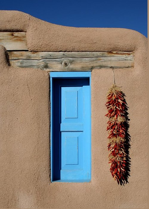 Taos Greeting Card featuring the photograph Blue Window Of Taos by Heidi Hermes