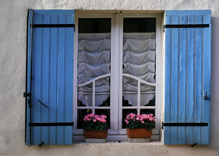 Blue Shutters Greeting Card featuring the photograph Blue Window Shutters by Georgia Fowler