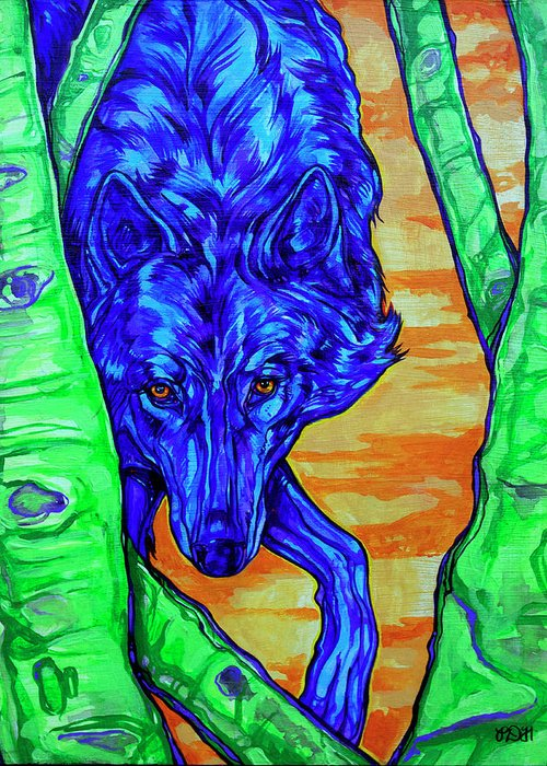 Wolf Greeting Card featuring the painting Blue Wolf by Derrick Higgins