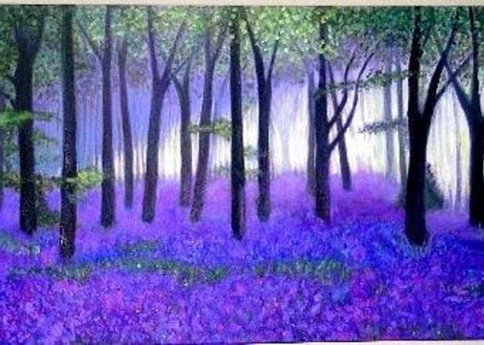 Landscape Greeting Card featuring the painting Bluebells Forest-bluebells Wood by Marie-Line Vasseur