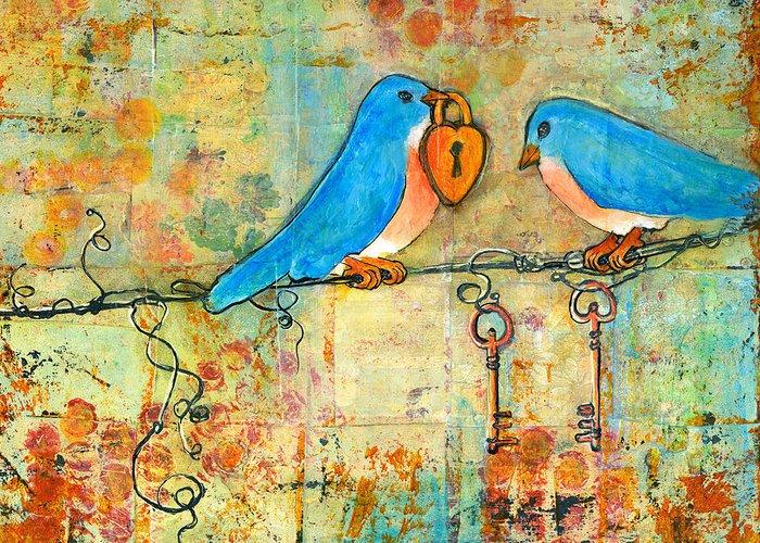 Bluebird Greeting Card featuring the painting Bluebird Painting - Art Key To My Heart by Blenda Studio