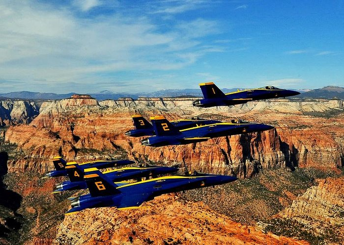 Blue Angels Greeting Card featuring the photograph Blues Over Zion by Benjamin Yeager