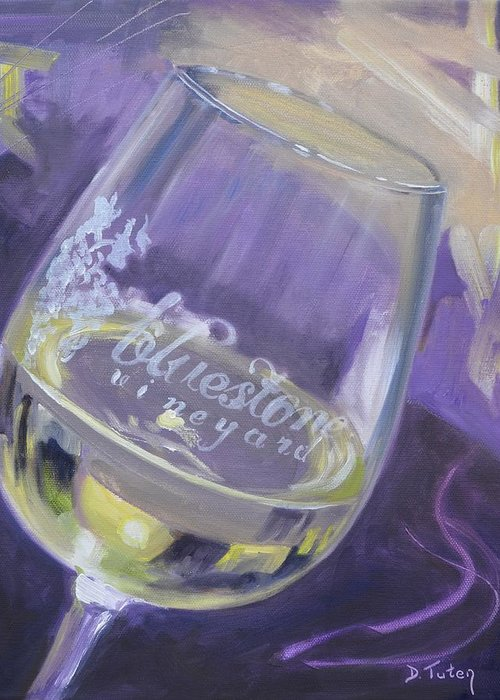 Wine Greeting Card featuring the painting Bluestone Vineyard Wineglass by Donna Tuten