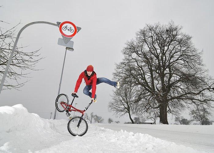 Bmx Flatland Greeting Card featuring the photograph Bmx Flatland In The Snow - Monika Hinz Jumping by Matthias Hauser