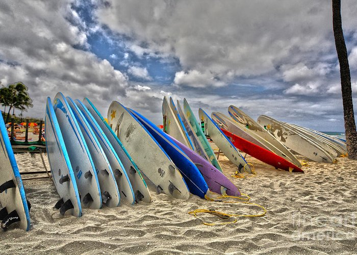 Surfing Greeting Card featuring the photograph Board Meeting by Cheryl Young