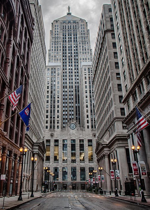Chicago Greeting Card featuring the photograph Board Of Trade by Mike Burgquist