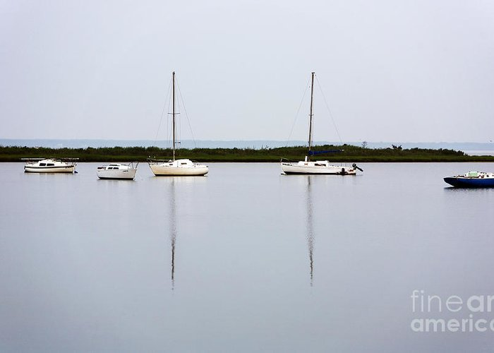 Boat Reflections Greeting Card featuring the photograph Boat Reflections by John Rizzuto