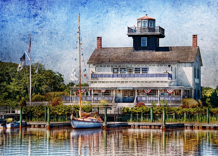 Hdr Greeting Card featuring the photograph Boat - Tuckerton Seaport - Tuckerton Lighthouse by Mike Savad