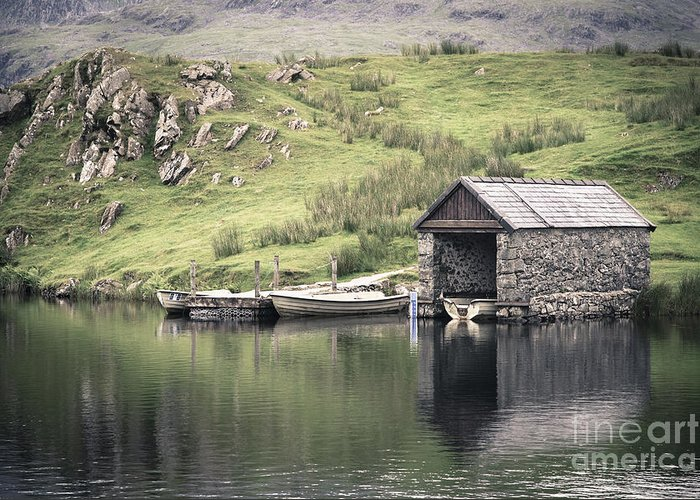 Boat Greeting Card featuring the photograph Boathouse by Jane Rix