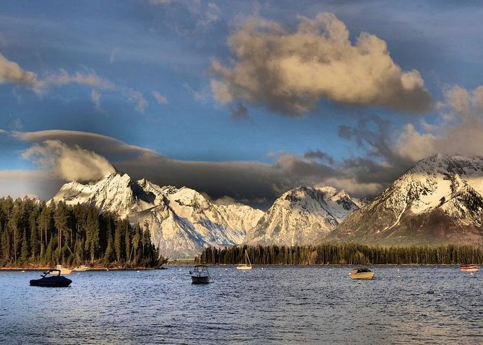 Landscape Greeting Card featuring the photograph Boating In The Tetons by Dan Sproul