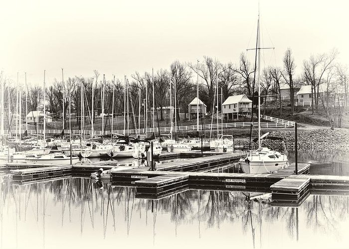 Boat Greeting Card featuring the photograph Boats And Cottages In B/w by Greg Jackson