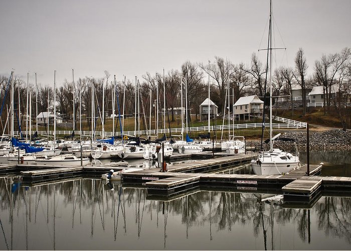 Boats And Cottages Overcast Day Greeting Card featuring the photograph Boats And Cottages On Overcast Day by Greg Jackson