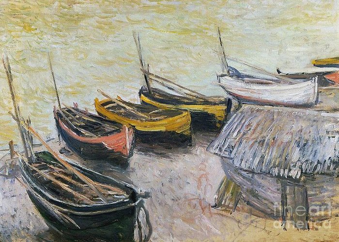 Boats On The Beach Greeting Card featuring the painting Boats On The Beach by Claude Monet