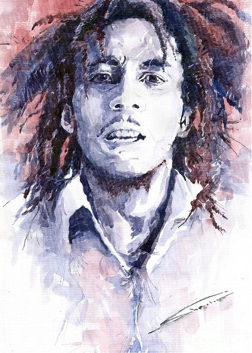 Watercolour Greeting Card featuring the painting Bob Marley 3 by Yuriy Shevchuk