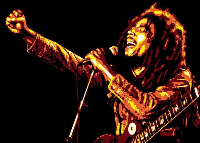 Bob Marley Greeting Card featuring the digital art Bob Marley by DB Artist