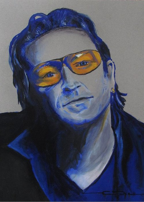 Celebrity Portraits Greeting Card featuring the painting Bono U2 by Eric Dee