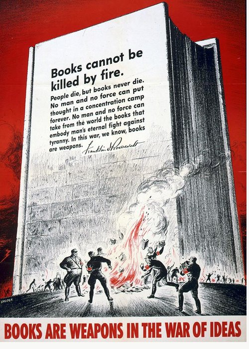 Books; Weapons; War; Ideas; 1942; Us; World; War; Ii; Anti-german; Poster; Nazis; Burning; Books; Quoting; D; Roosevelt; Books; Cannot; Killed; Fire; American; Propaganda; Art; Lithograph Greeting Card featuring the drawing Books Are Weapons In The War Of Ideas 1942 Us World War II Anti-german Poster Showing Nazis by Anonymous
