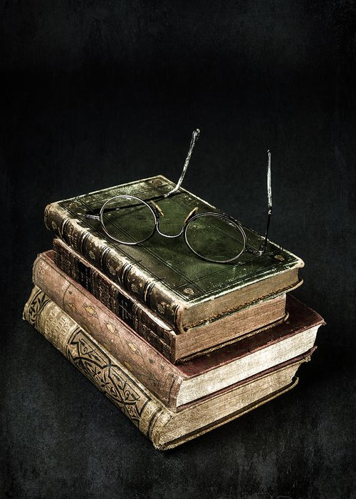 Book Greeting Card featuring the photograph Books With Glasses by Joana Kruse
