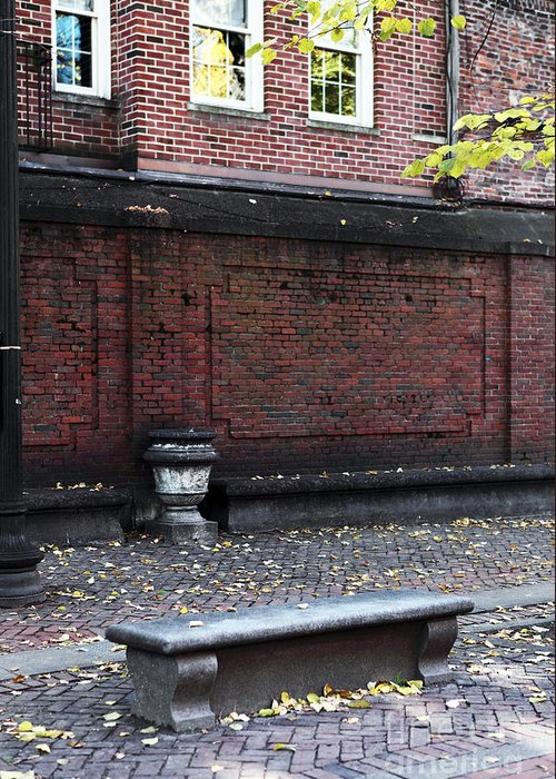 Pictures Greeting Card featuring the photograph Boston Bench by John Rizzuto