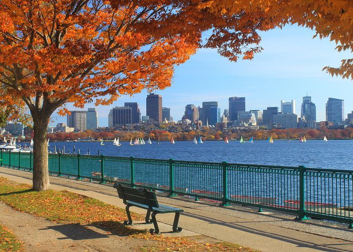 Boston Greeting Card featuring the photograph Boston Charles River In Autumn by John Burk