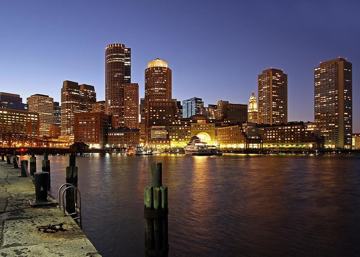 Boston Greeting Card featuring the photograph Boston Skyline And Fan Pier by Juergen Roth