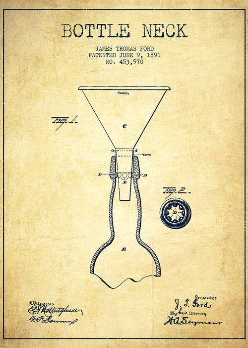 Bottle Patent Greeting Card featuring the drawing Bottle Neck Patent From 1891 - Vintage by Aged Pixel