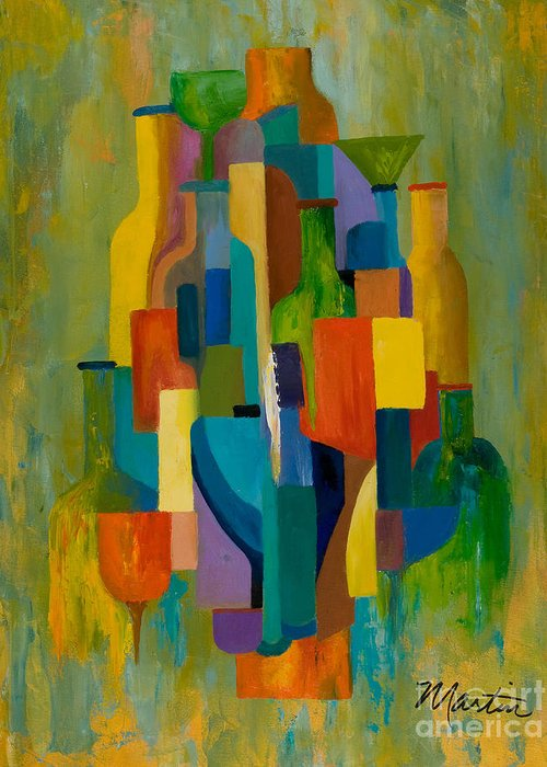 Abstract Greeting Card featuring the painting Bottles And Glasses by Larry Martin