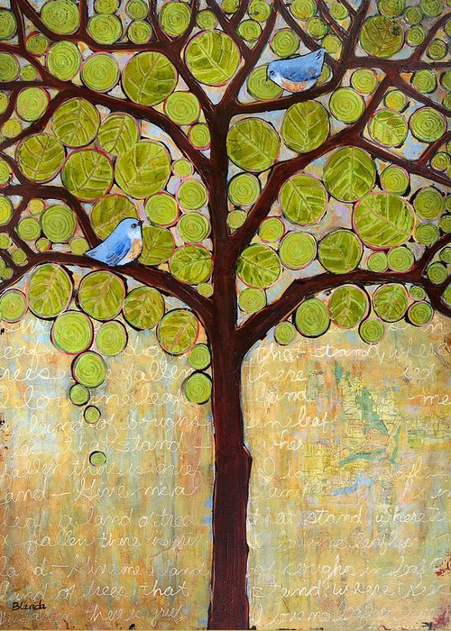 Art Greeting Card featuring the painting Boughs In Leaf Tree by Blenda Studio