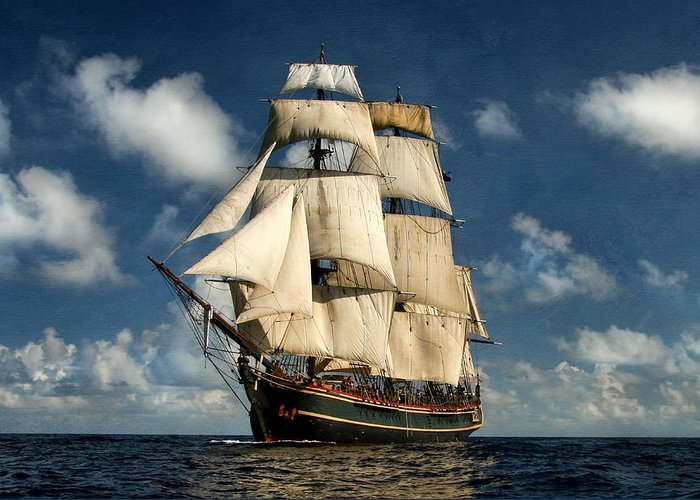 Hms Bounty Greeting Card featuring the digital art Bounty Making Way by Peter Chilelli