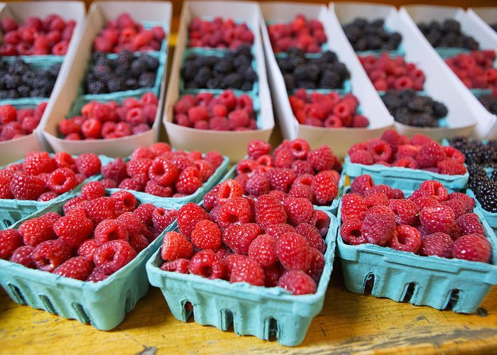 Raspberries Greeting Card featuring the photograph Bounty Of Berries by Caitlyn Grasso
