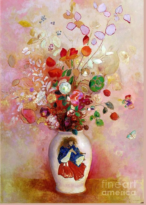 Still Life; Symbolist Greeting Card featuring the painting Bouquet Of Flowers In A Japanese Vase by Odilon Redon