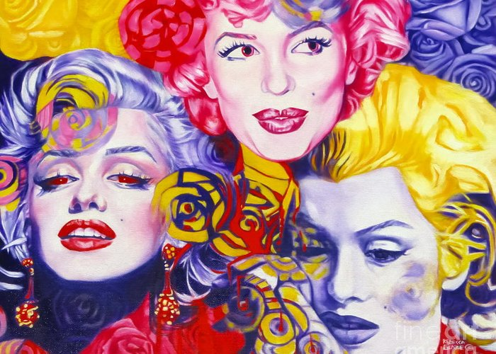 Marilyn Monroe Greeting Card featuring the painting Bouquet Of Marilyn by Rebecca Glaze