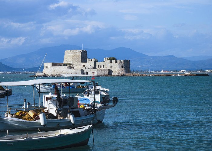 Nafplio Greeting Card featuring the photograph Bourtzi And Boats by David Waldo