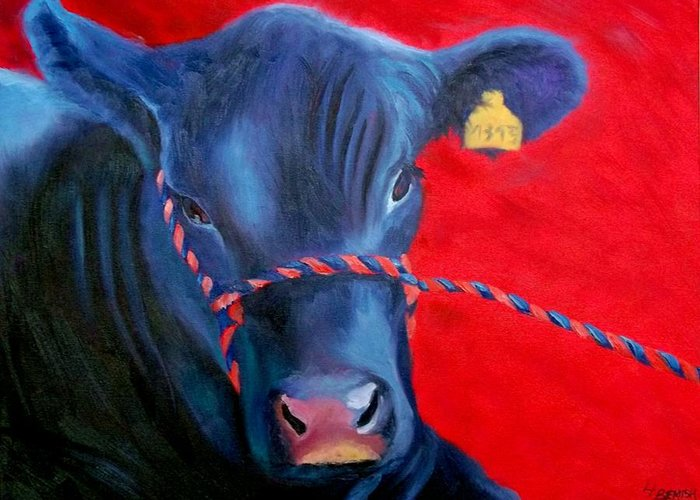 Bovine Greeting Card featuring the painting Bovine Intervention by Lisa Lea Bemish