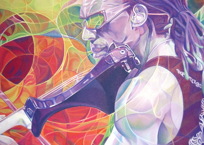 Boyd Tinsley Greeting Card featuring the drawing Boyd Tinsley And Circles by Joshua Morton