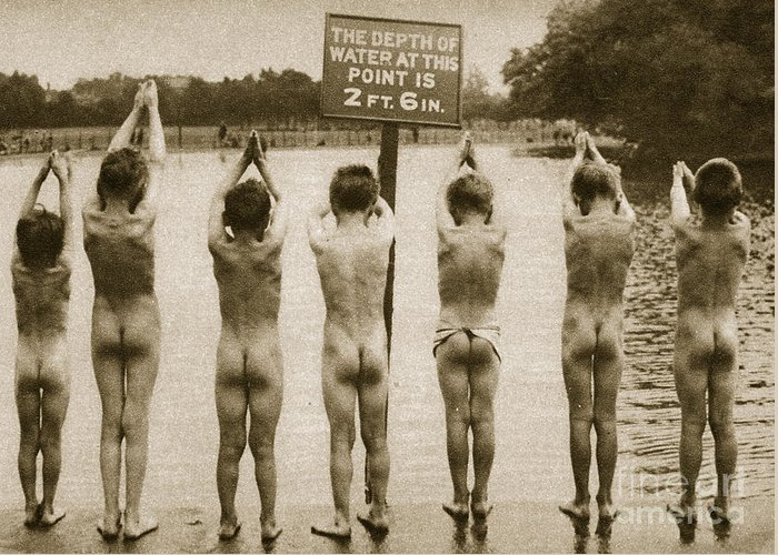 London Greeting Card featuring the photograph Boys Bathing In The Park Clapham by English Photographer