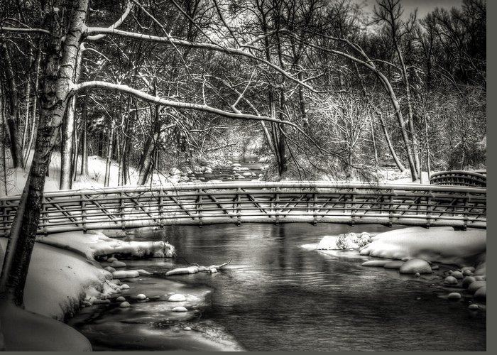 Brainards Bridge Park Greeting Card featuring the photograph Brainards Bridge After A Snow Storm 3 by Thomas Young