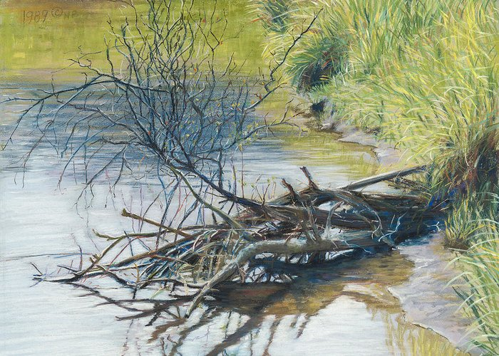 Birdseye Art Studio Greeting Card featuring the painting Branches By A River Bank by Nick Payne