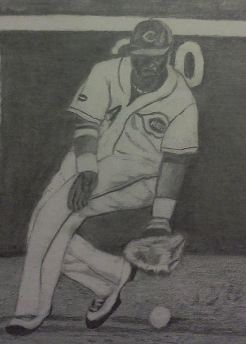 Reds Greeting Card featuring the drawing Brandon Phillips by Christy Saunders Church