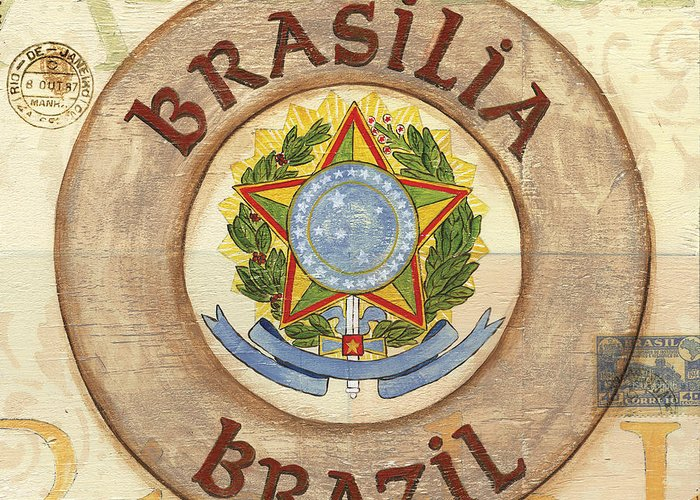 Brazil Greeting Card featuring the painting Brazil Coat Of Arms by Debbie DeWitt