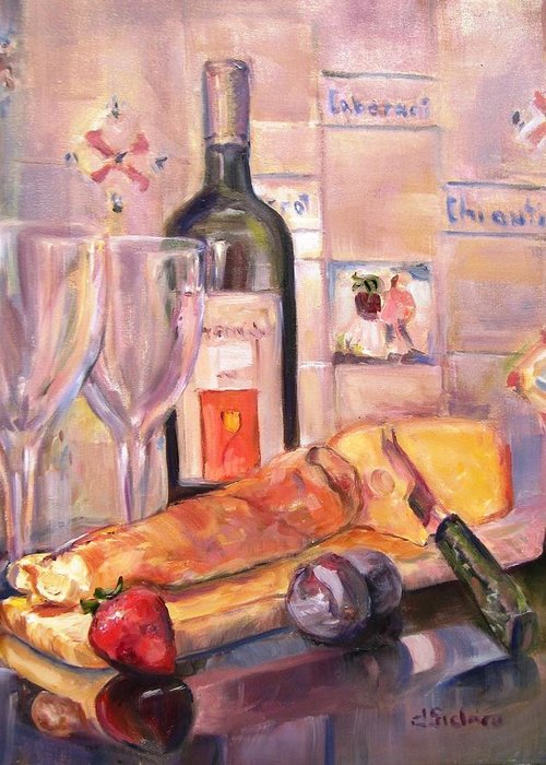 Bread Greeting Card featuring the painting Bread And Wine by Dorothy Siclare