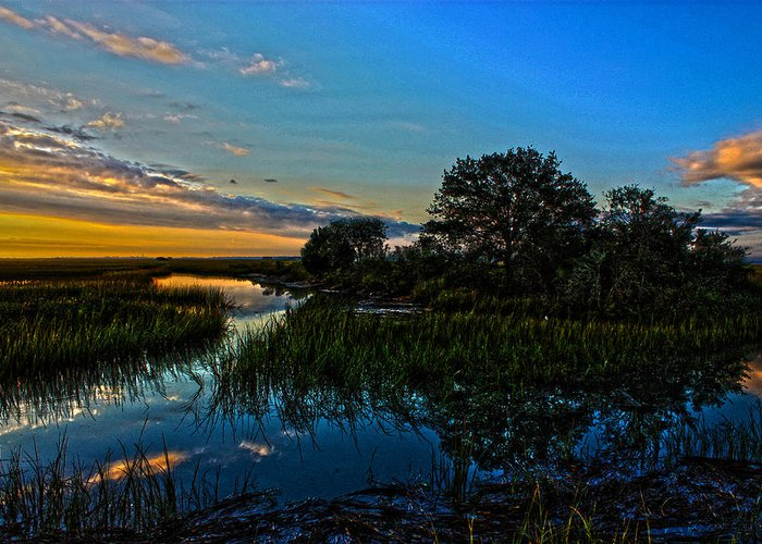 Hdr Greeting Card featuring the photograph Break Of Dawn Over Low Country Marsh by Savlen Art