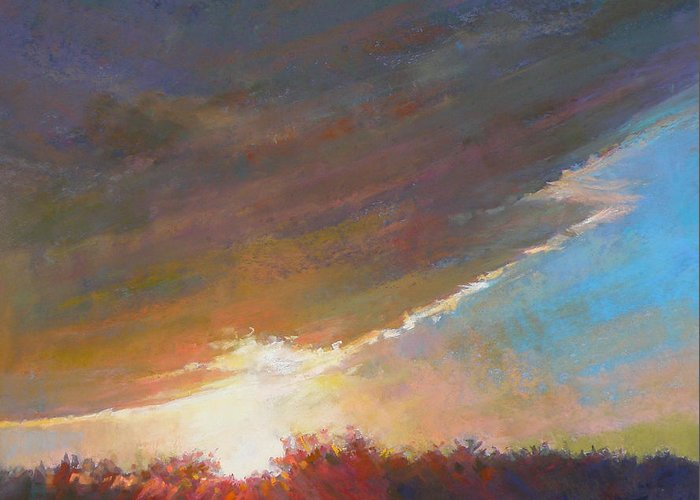 Sunrise Greeting Card featuring the painting Break Through by Ed Chesnovitch