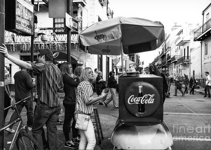 Break Time On Bourbon Street Greeting Card featuring the photograph Break Time On Bourbon Street Mono by John Rizzuto