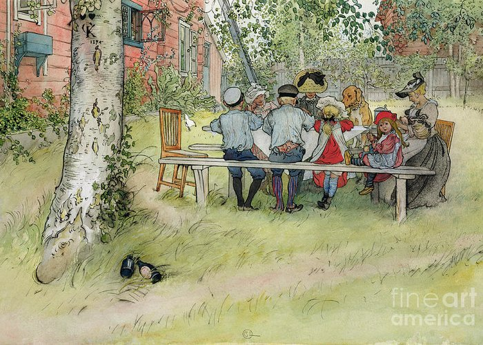 Picnic Table; Al Fresco; En Plein Air; Outdoors; Meal; Eating; Garden; Family; Children; Bench; Bonnet; Dog; Male; Female Greeting Card featuring the painting Breakfast Under The Big Birch by Carl Larsson