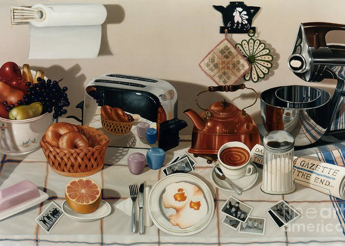 Still Life Greeting Card featuring the painting Breakfast With The Beatles - Skewed Perspective Series by Larry Preston