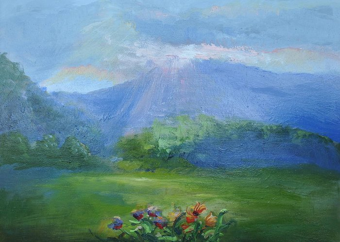 Breakthrough Greeting Card featuring the painting Breakthrough Light by Patricia Kimsey Bollinger